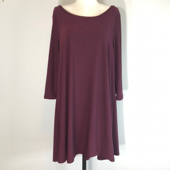 Nordstrom Leith Scoop Neck Crepe Trapeze Dress.